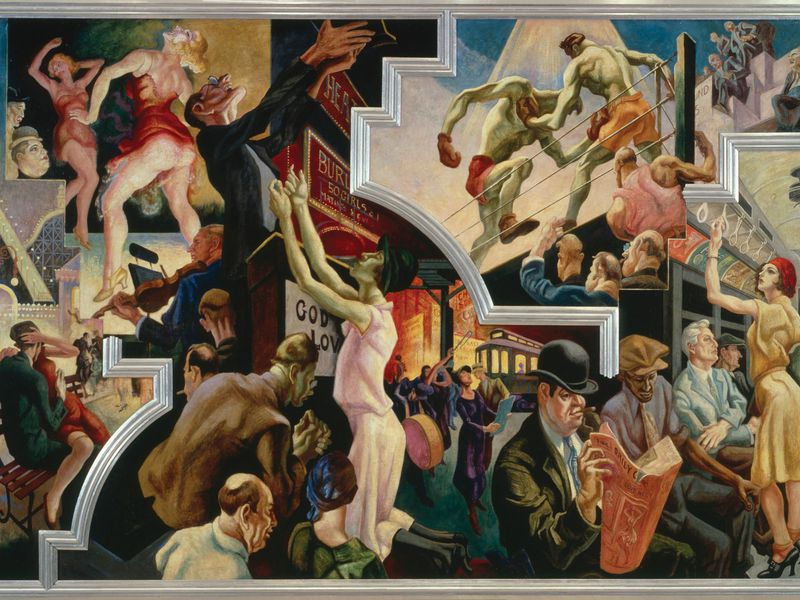 The story behind thomas hart benton s incredible for Bank ballroom with beautiful mural nyc
