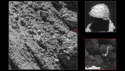 Main image and lander inset: ESA/Rosetta/MPS for OSIRIS Team MPS/UPD/LAM/IAA/SSO/INTA/UPM/DASP/IDA. Context: ESA/Rosetta/ NavCam – CC BY-SA IGO 3.0