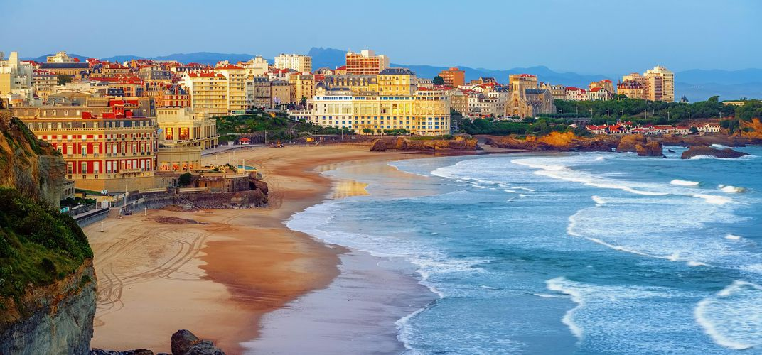 The beach in the resort town of Biarritz