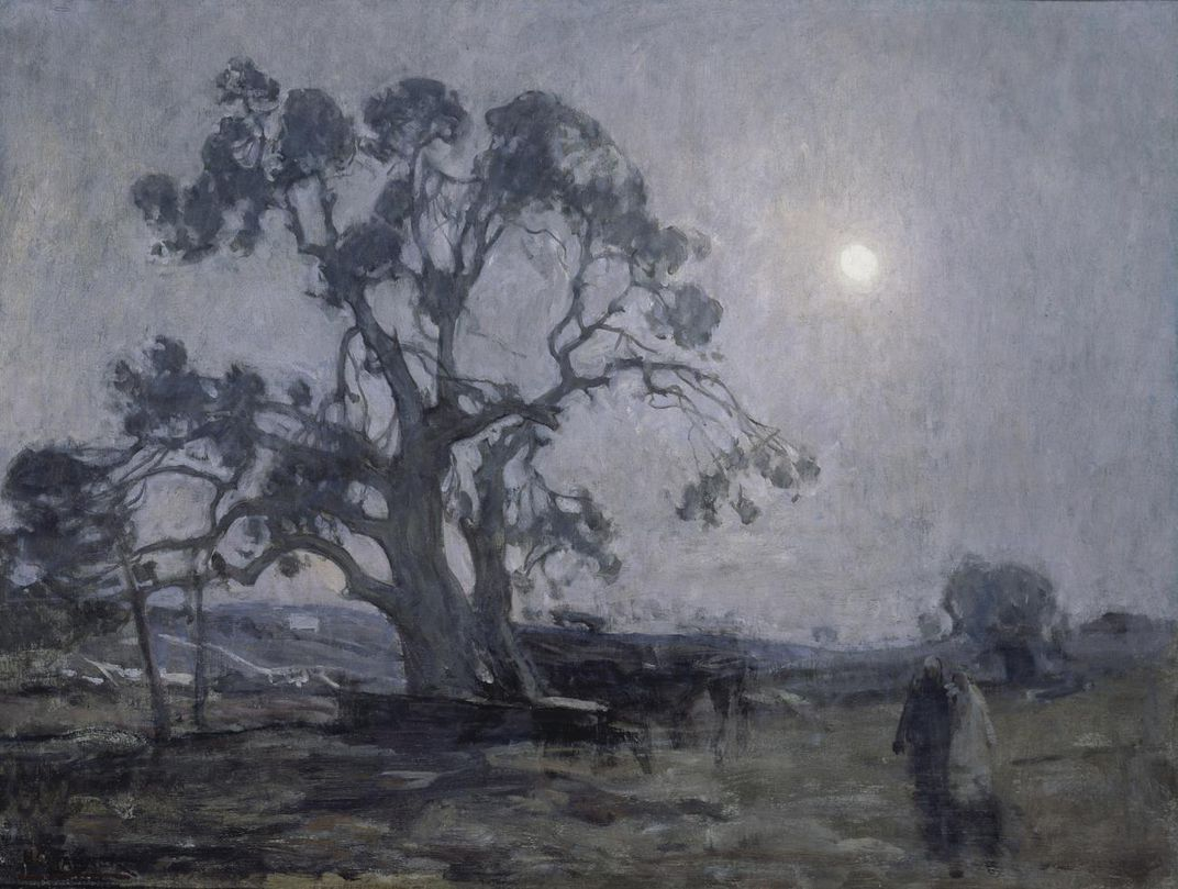 A painting of a night sky with a tree in the middle ground and the moon in the background.