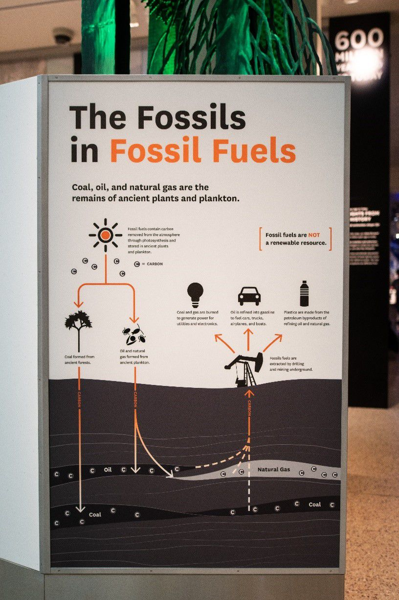 "White sign that says ""The Fossils in Fossil Fuels"" in black and orange at the Smithsonian's National Museum of Natural History."