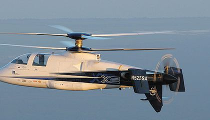 The X2 takes off like a helicopter but has almost the speed of its high powered fixed-wing brethren