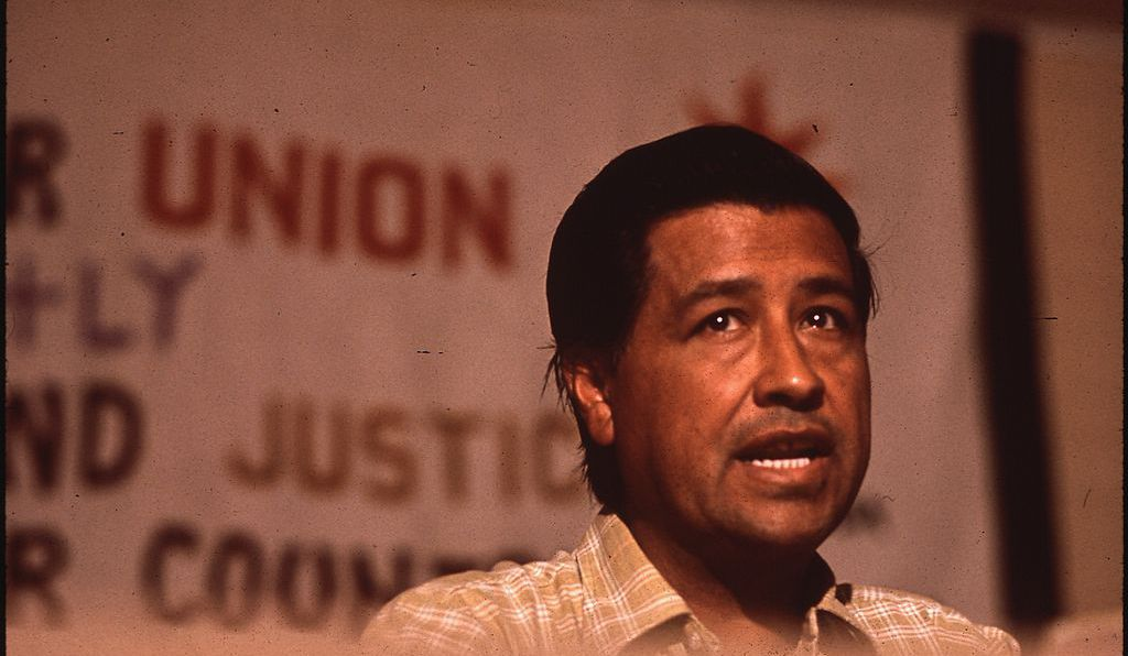 Leader of the Migrant Workers Union, Cesar Chavez speaking in 1970.