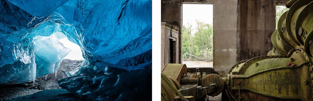 Ice cave in Iceland next to water pump in Morgan City