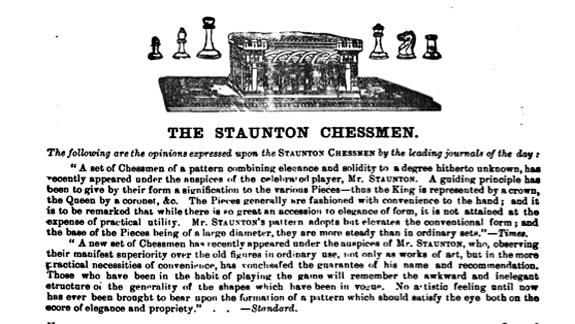 A 19th century advertisement for the Staunton Chessmen