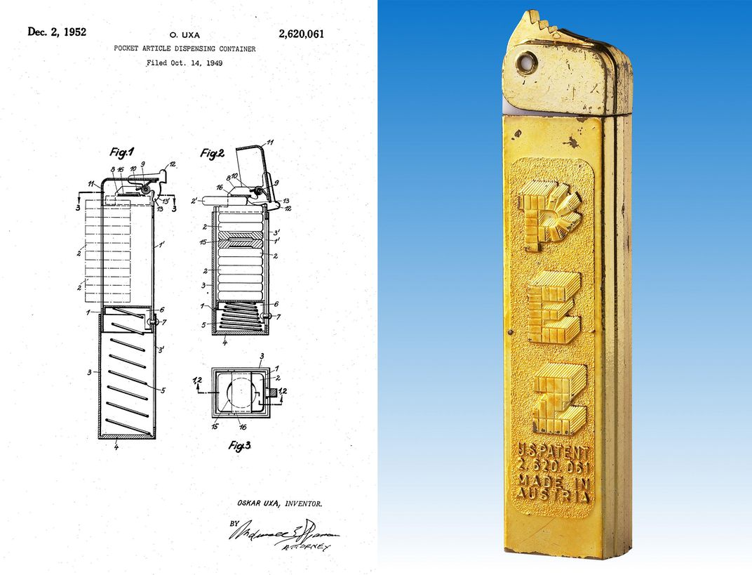 Pez dispenser patent and original.jpg