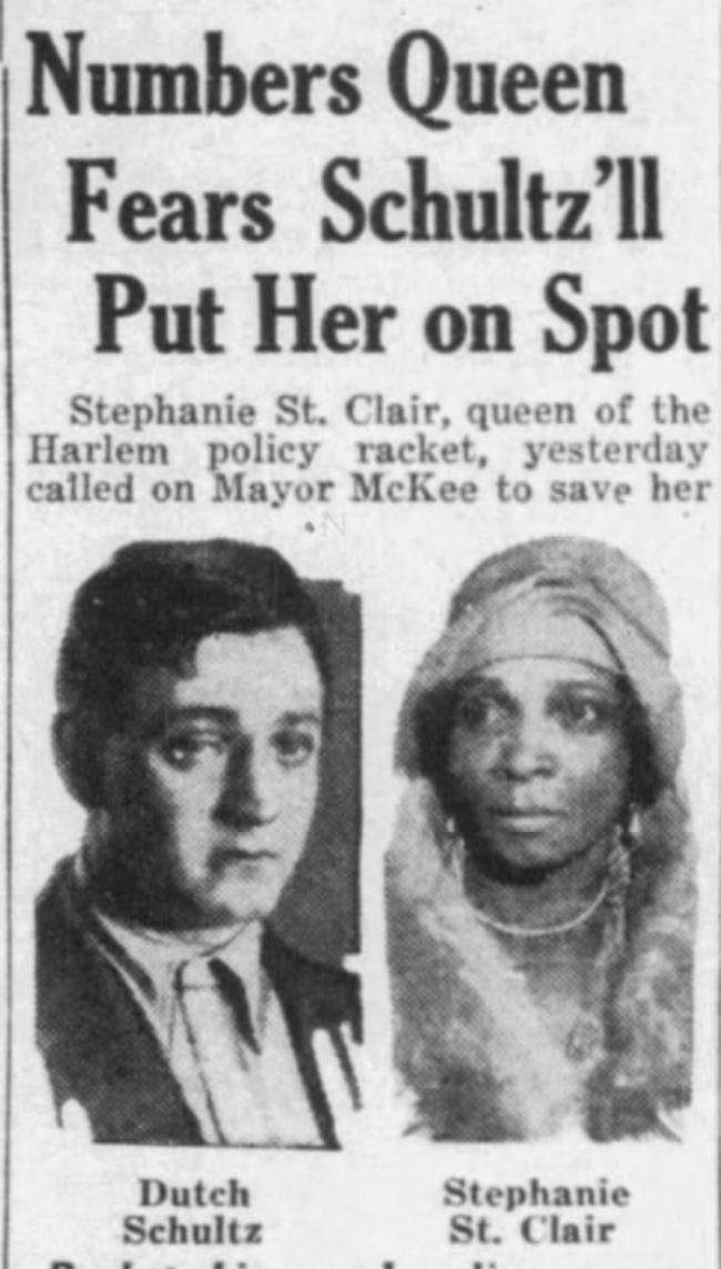 Newspaper article about St. Clair and Dutch Schultz