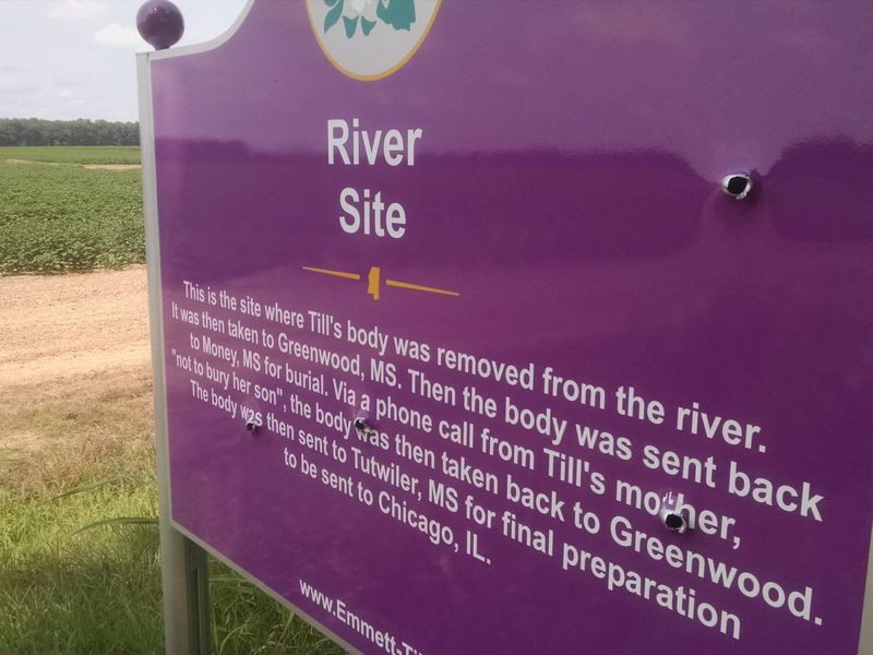 A Memorial Sign to Emmett Till Was Defaced With Four Bullet