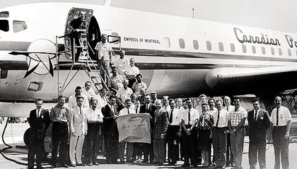 The flight and ground crews for the DC-8 supersonic run included flight test engineer Richard H. Edwards