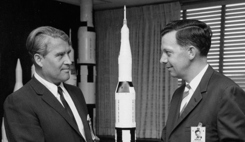 Wernher von Braun (left) and Hermann Koelle switched from the Army to NASA, taking their big rocket with them.