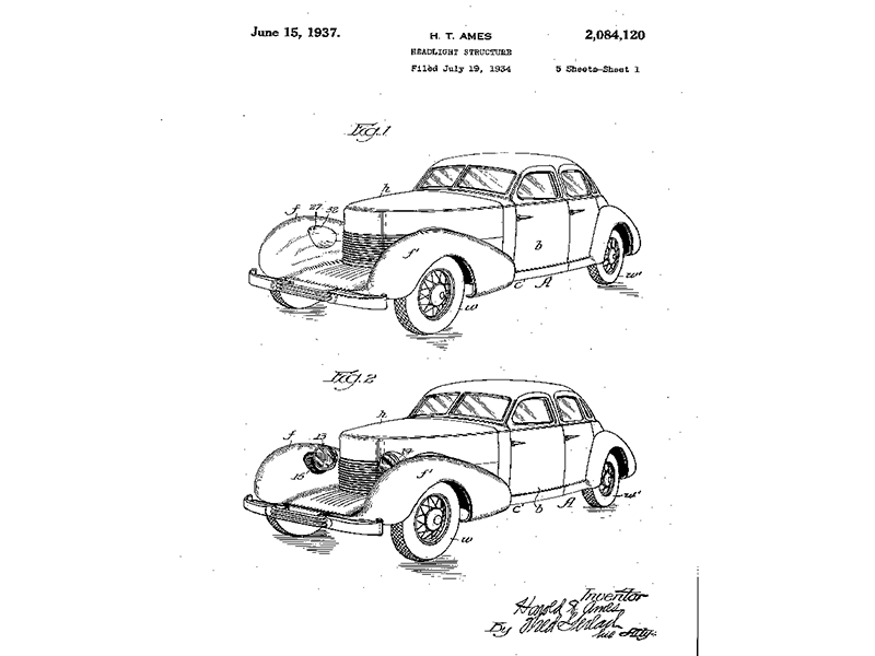 how general motors introduced the idea of a concept car 1940 Ford Panel Delivery harold ames patented a similar headlight structure in 1937 that was used on cord cars u s pat no 2 084 120