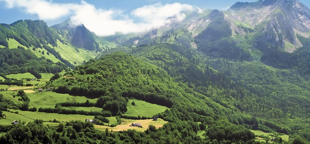 The rolling hills and Pyrenees Mountains of the Basque countryside