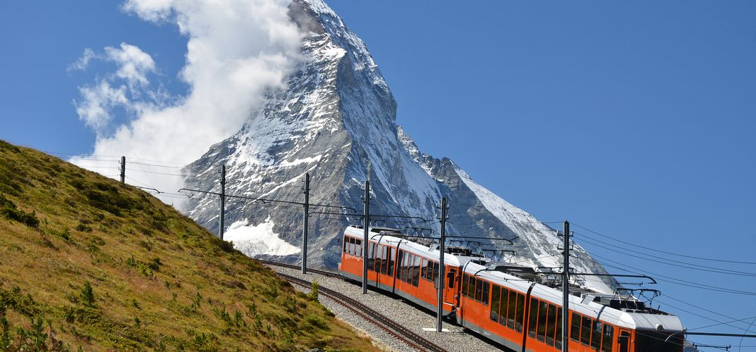 The <i>Gornergrat Bahn</i>, highest cog railway in Europe, with the Matterhorn