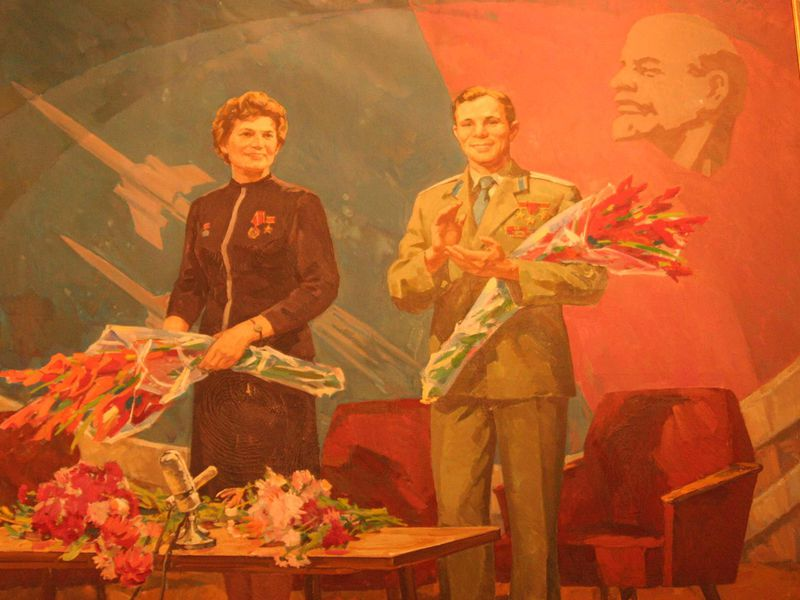 Valentina Tereshkova, first woman in space, and Yuri Gagarin