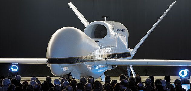 Ready for its closeup: The first demilitarized Global Hawk debuts in 2009 at NASA's Dryden center in California, where scientists will use it to study hurricanes, pollution, and other atmospheric disturbances.