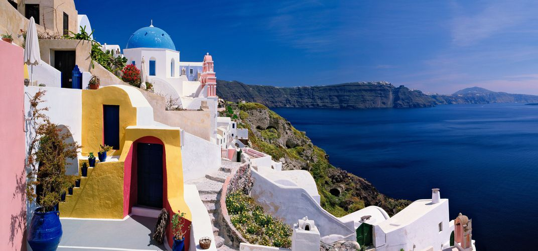 View from the village of Fira on Santorini.  Credit: KJ DiLuigi