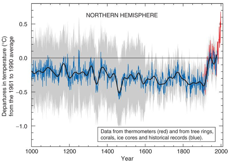 """The IPCC's famous """"hocket stick"""" chart of global temperatures."""