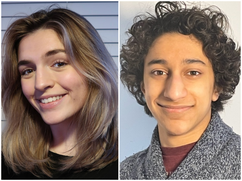 Two cropped headshots. Left, a young woman with shoulder-length hair smiles at the camera; right, a young man with curly black hair and a grey sweater smiles at the camera