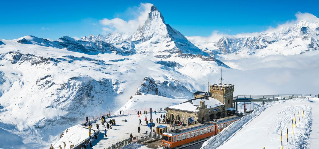 Gornergrat train station with view of Matterhorn