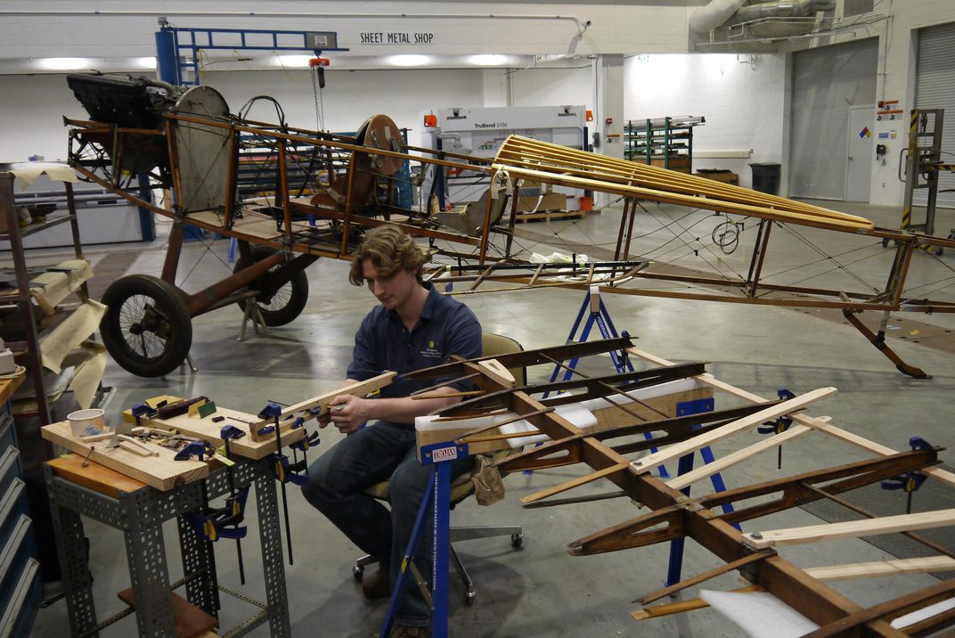 Reddersen, working on the Lincoln-Standard wings