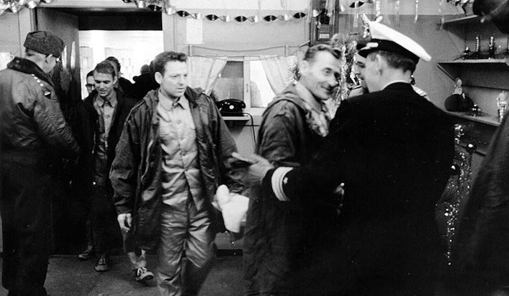 The crew of the USS Pueblo upon their release from North Korea on December 23, 1968, following 11 months as prisoners.