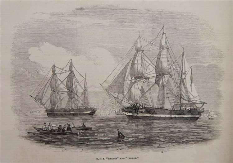 An illustration of the HMS Erebus and HMS Terror