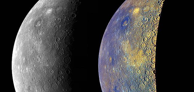 MESSENGER last year revealed another side of Mercury, color-enhanced to show the differences in surface geology.