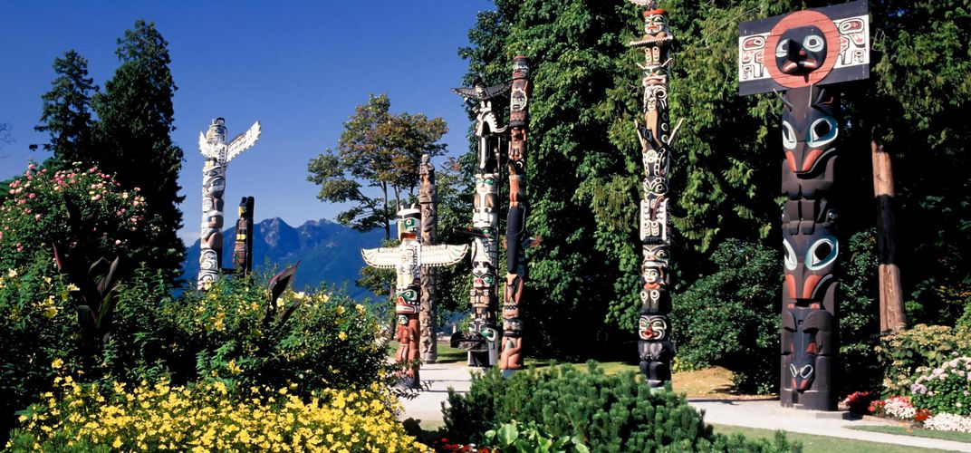 Traditional totem poles in Stanley Park, Vancouver