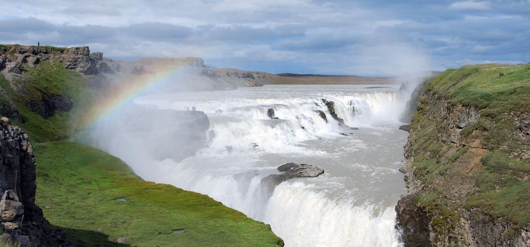 Rainbow over Gullfoss Waterfall