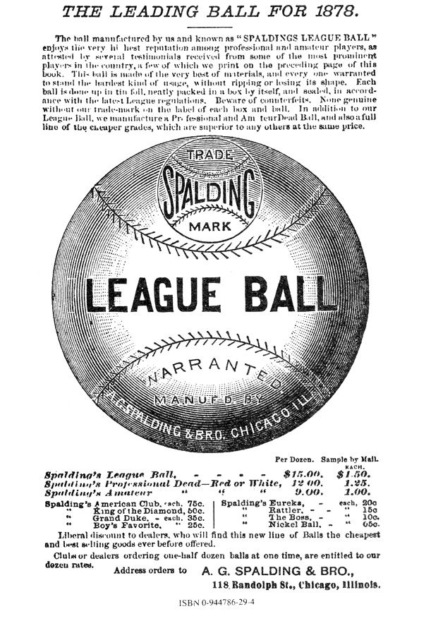 An early advertisement for Spalding's baseball