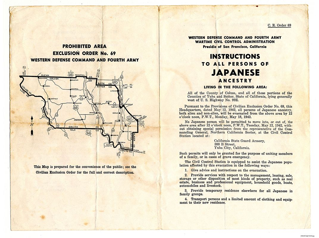 posted civilian exclusion order by the western defense command to all persons of anese ancestry within colusa county california informing them that