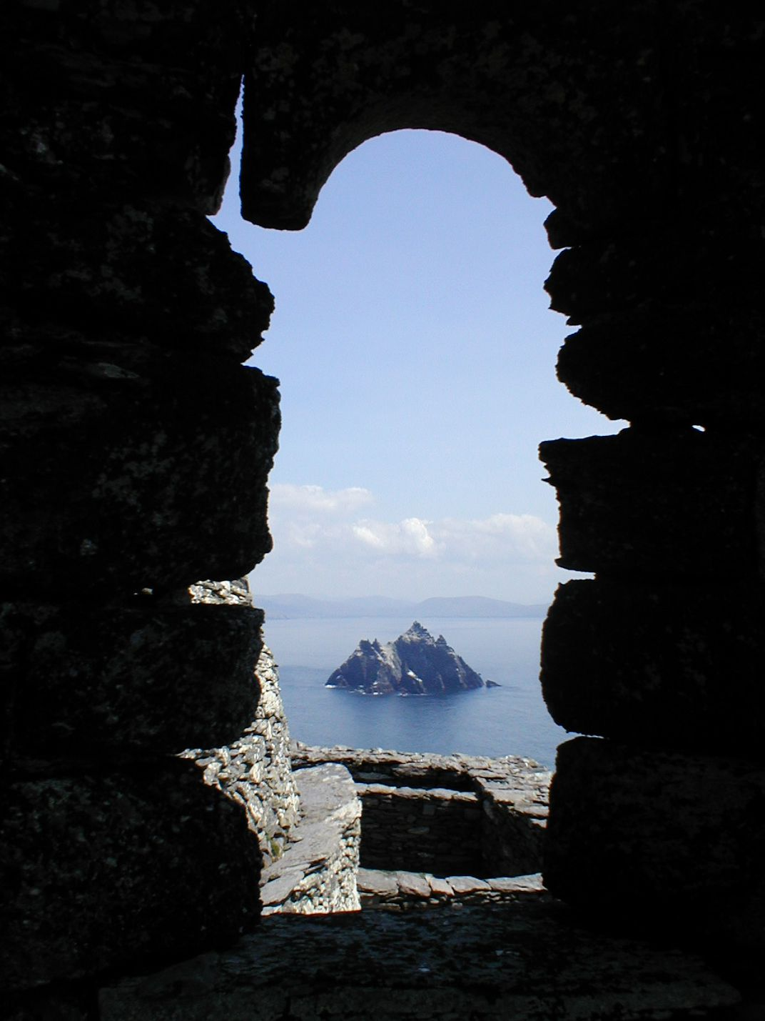 Little Skellig seen through a window of the hermitage of Skellig Michael