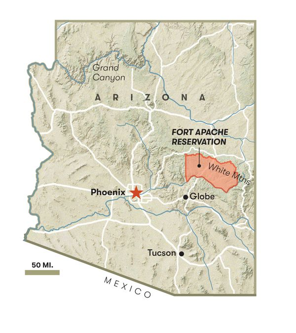 A map of Arizona showing the location of the Fort Apache Reservation