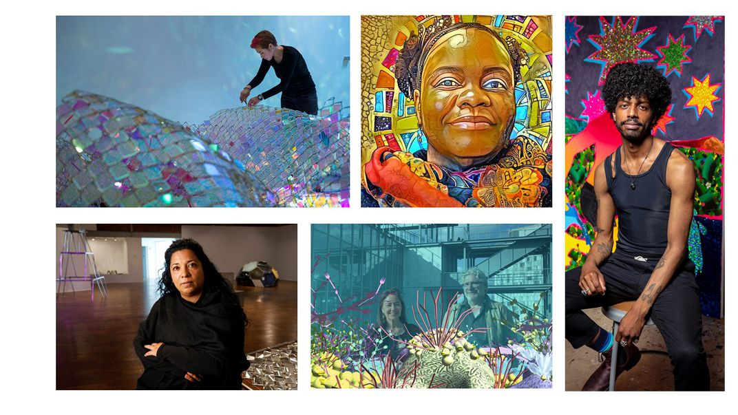 """Portraits of the five contemporary artists creating new commissions for """"Futures"""""""