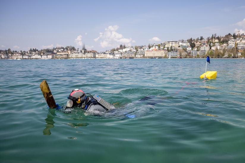 Underwater archaeologist at Lake Lucerne