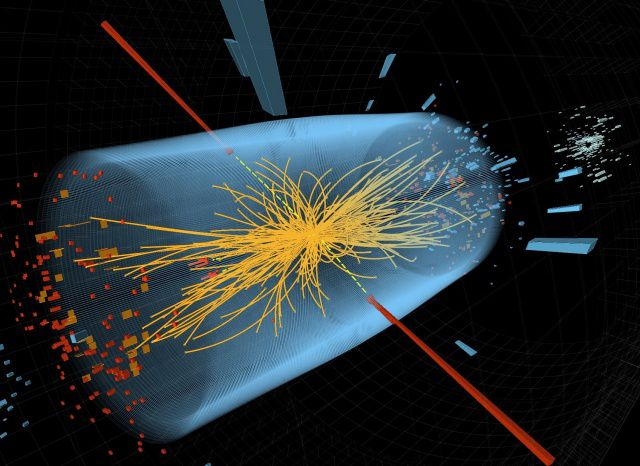 A simulation of a particle collision as seen by the Large Hadron Collider's CMS experiment.