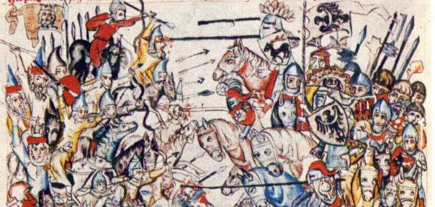 medieval art painting of soldiers at war