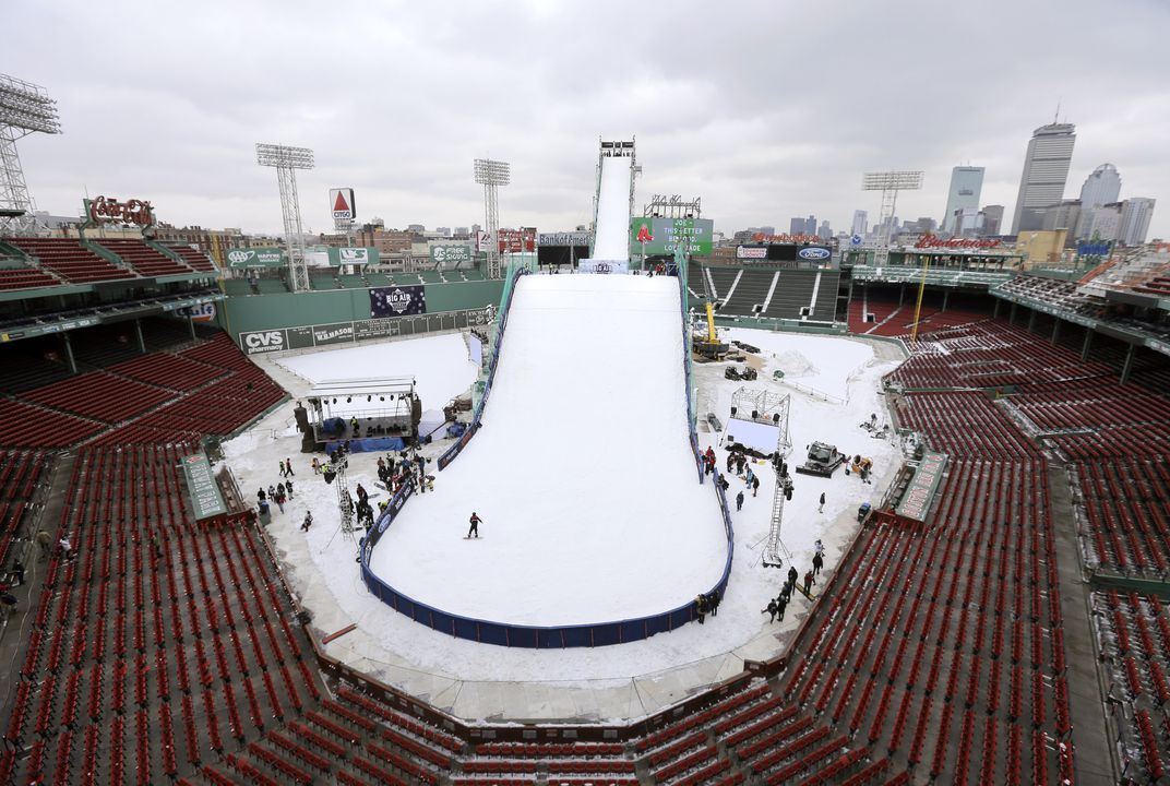 Skiing comes to famous baseball park