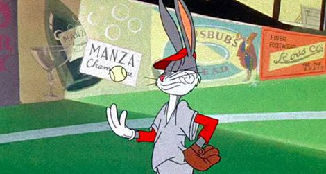 Bugs Bunny pitches in Baseball Bugs.
