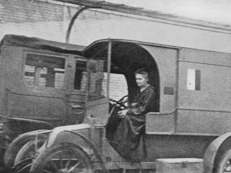 Marie Curie in one of her mobile X-ray units in October 1917