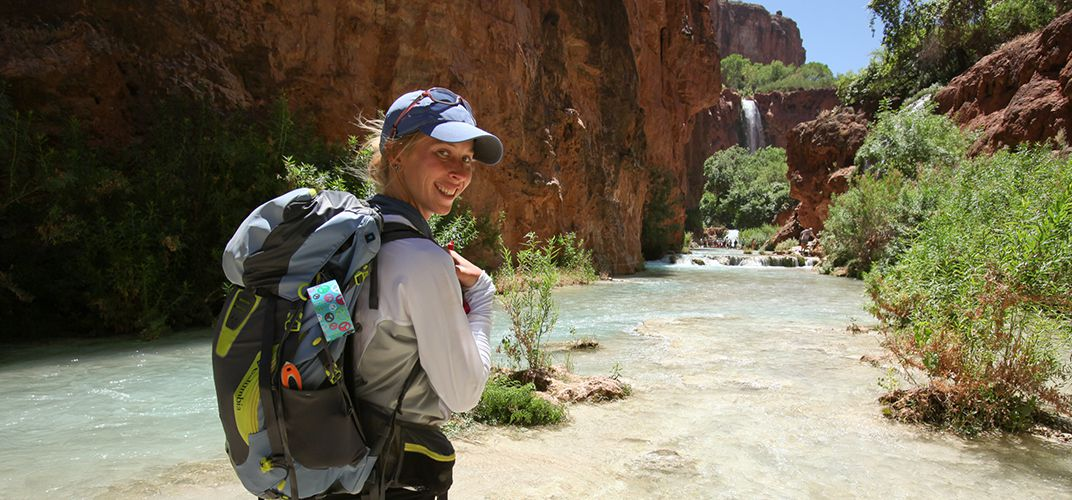 Hiker in the Havasupai area of the Grand Canyon
