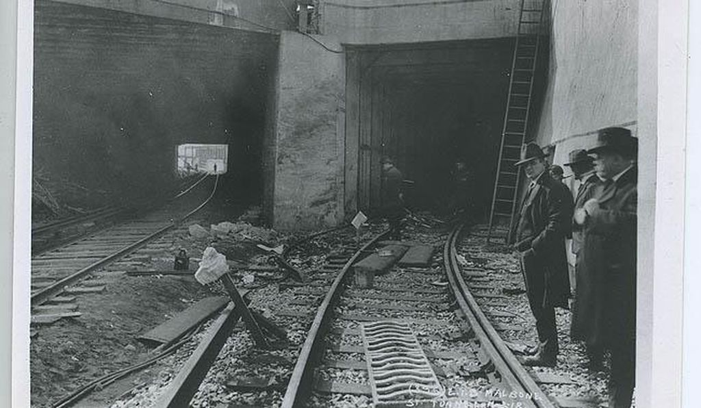 Inspectors review the portal to the tunnel.