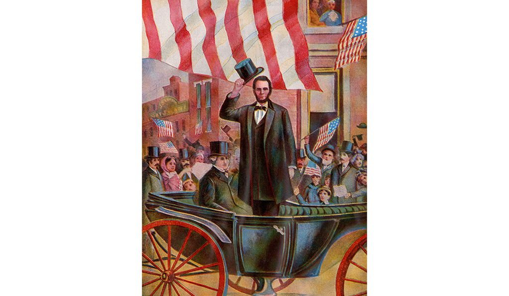 President Abraham Lincoln with ex-president James Buchanan in the inaugural parade, March 4, 1861