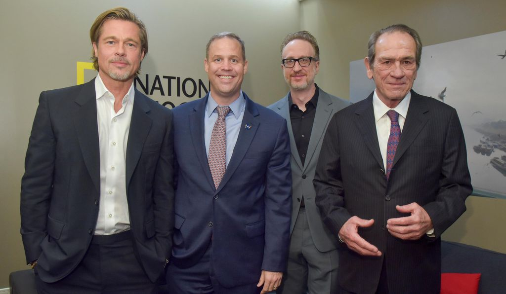 Actor Brad Pitt, NASA Administrator Jim Bridenstine, director James Gray and actor Tommy Lee Jones at a screening of the new film