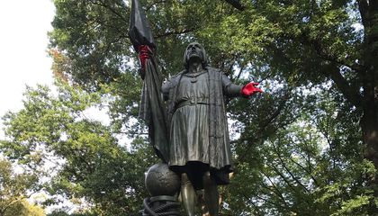 Christopher Columbus Monument Defaced in Central Park