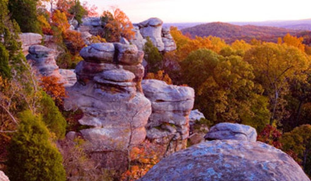 Unusual rock formations define an area called the Garden of the Gods in the Shawnee National Forest.