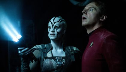 <em>Star Trek</em> 's Simon Pegg, Giving Her All She's Got