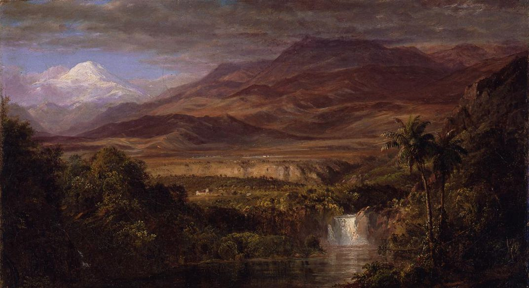 A painting of a landscape with a mountain