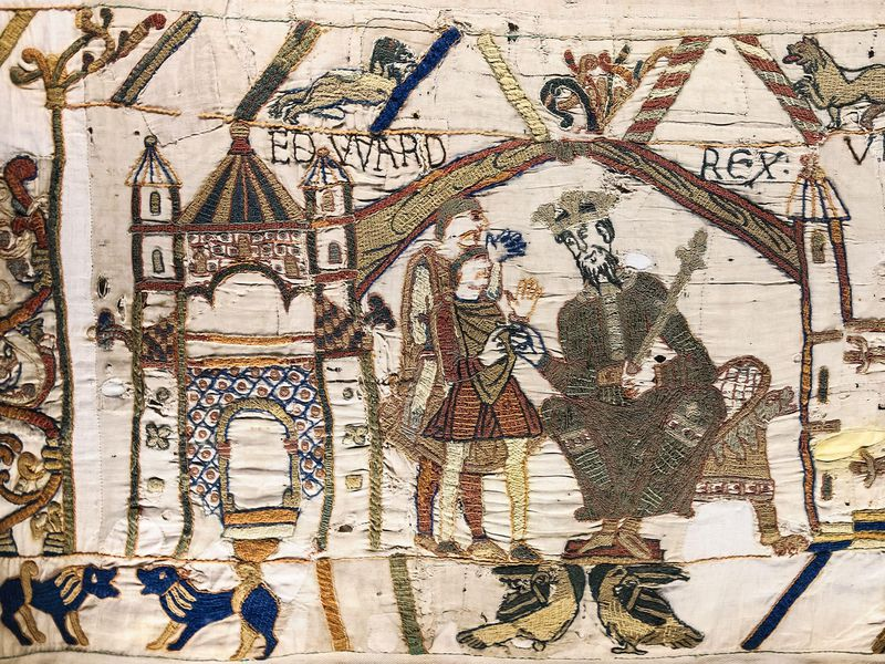 Close-up of Bayeux Tapestry scene