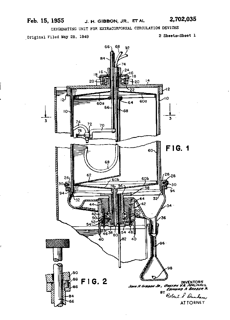 Gibbon heart-lung machine patent.png